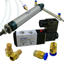 Pneumatic Cylinder Linear Actuator Kit 4v210 08 Solenoid Valve Air Piston Tubing