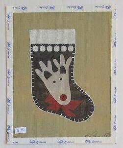HANDPAINTED NEEDLEPOINT Reindeer Stocking by Lani (11)