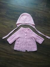 Baby Hat and Cardigan Set Hand Knitted Pink Acrylic Up to 3 Month Old Girl