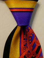 VITALIANO PANCALDI Men's Silk Necktie ITALY Luxury PAISLEY STRIPED Black/Red EUC