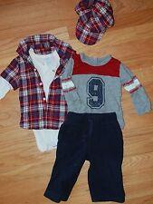 Baby Boy's Outfit Lot 6-12M Red Plaid Flannel Bodysuit Hat Fleece Pants 4pc Set