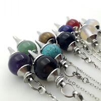 Natural Gemstone Crystal Pendulum Healing Dowsing Chakra Reiki Pendant Necklace