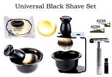 UNIVERSAL BLACK ACRYLIC SHAVE SET - Complete with Stand Holder-Razor-Brush-Soap
