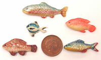 1:12 Scale Set Of 5 Loose Polymer Clay Fish For A Dolls House Kitchen Or Shop A