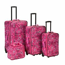 4 piece Expandable Luggage Set Rolling Wheels Suitcase Carry On Tote Bag Pink