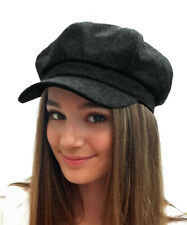 6248b66de0f6c UK Ladies Womens Girls Black 8 Panel Wool Blend Baker Boy News Boy Flat Cap  Hat