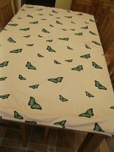 """handmade tablecloth 66 x 53"""" beige + green blue butterflies, heavy cotton blend"""