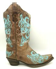 Corral Brown Leather Teal Stitched Cowboy Western Boots Shoes Women's 10 M
