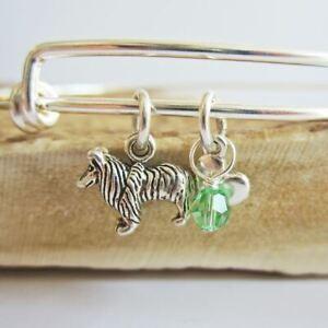 "Sheltie Mini Heart Stackable Bangle Bracelet, Dog Charm (2.5""-3"") Free Shipping"