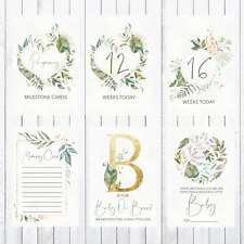 Pregnancy Milestone Cards, 4x6 Photo Prop, 37 Cards, green, leaves