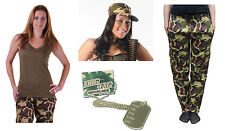 Army Girl Camouflage Fancy Dress Complete Accessories Trouser Vest Hat Dog Tag