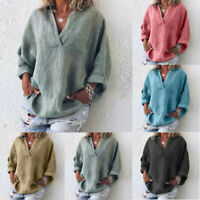 Women Plus Size Long Sleeve Casual Linen VNeck Blouse T-Shirt Pure Clothes AU