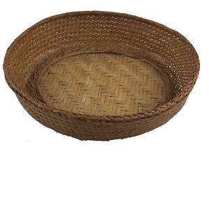 "Vintage Hand Made Wicker Rattan Basket Woven Basket Bowl Oval Decor 9.75"" Long"