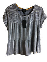 NWT W5 Women's Top/  Size Large  / Stripes Blue and White
