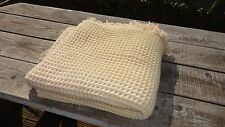 "Vintage Welsh Fringed Honeycomb Blanket / Throw - Cream & Pink  76"" x 69"""