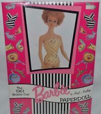 NEW-1994 THE PECK AUBRY-1961 BUBBLE CUT BARBIE PAPER DOLL SET-12 FASHIONS + CASE