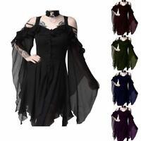 Vintage Gothic Women Dress Steampunk Cold Shoulder Victorian Medieval Plus Size