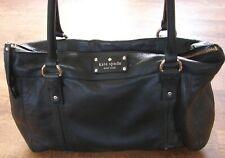 KATE SPADE NEW YORK BLACK PEBBLED LEATHER SHOULDER BAG / HAND BAG / PURSE