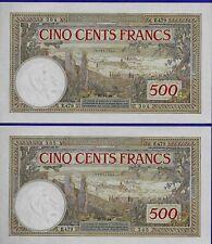 2 x 500 Francs 1948 Morocco - UNC Consecutive