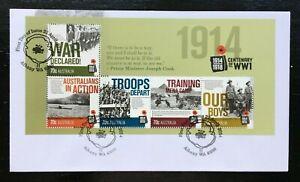 MAFD169) Australia 2014 Centenary WWI Minisheet FDC