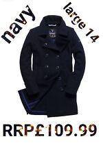 *** VENTE *** Nouveau RRP £ 109.99 Grande Taille 14 Femme Superdry Bridge MANTEAU BLEU MARINE BNWT