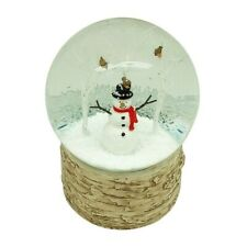 Snowman Snow Globe With Trees & Robins | Christmas Snowglobe