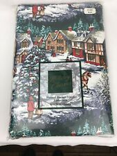 """Vintage Town & Country Flannel Back Vinyl Christmas Tablecloth 52"""" x 70"""" Oblong"""