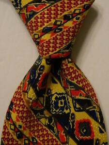 BRIONI Men's 100% Silk Necktie ITALY Luxury Designer Geometric Multi-Colored GUC