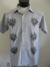 Rockabilly Bowling Shirt L Gray Stripe Tattoo Tribal Panels Hipster Large NEW