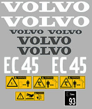 VOLVO EC45 DIGGER COMPLETE DECAL STICKER SET WITH SAFETY WARNING DECALS
