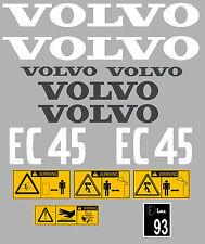 Volvo EC45 Aufkleber Bagger Komplettset mit Sicherheit Warnung