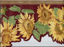 COUNTRY YELLOW SUNFLOWERS ON RED WALLPAPER BORDER