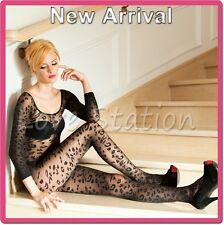 Sheer Bodystocking Open Crotch Long Sleeves with Floral Pattern Selebritee C158