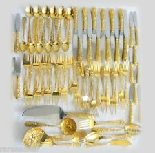 S Kirk  Son gold over sterling silver flatware - REPOUSSE - service 12 FREE SHIP