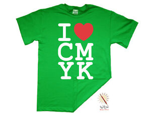 T-shirt I LOVE/HEART CMYK. Graphic Design/Student/Uni/Geek/Printer/Funny S-XXXL