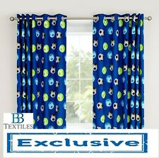 "Catherine Lansfield Boys/Kids Blue Football Fully Lined Eyelet Curtains 66""x72"""