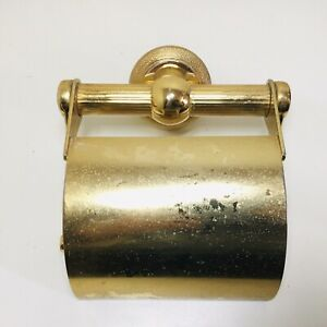 Vintage Gold Tone Brass Corinthian Style Toilet Roll Holder Salvage Wall Mounted
