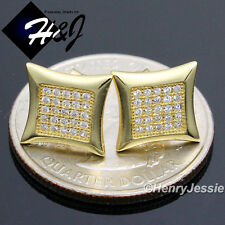 925 STERLING SILVER 10MM LAB DIAMOND ICED OUT BLING GOLD SQUARE STUD EARRING*E60