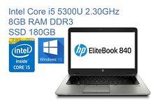 "Portátil HP Elitebook 840 G2 Core i5-5300U RAM 8GB SSD 180GB 14"" Webcam"