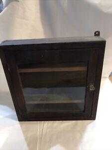 Antique Primitive Medicine Cabinet Glass Knob Storage Wood Farmhouse Apothecary