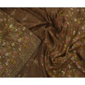 Tcw  Antique Vintage Brown Sarees 100% Pure Silk Printed Sari Craft Fabric