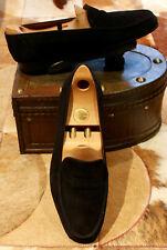 John Lobb 'Romeo' Black Suede Loafers - UK 8E