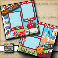 Quarantine ~ 2 premade scrapbook pages Paper digiscrap layout Stay Home #A0314