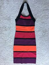 Express Bright Colors Stripes Stretch Sexy Bodycon Knee-Length Dress Halter XS