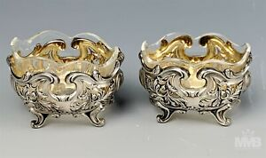 Pr French 800 Silver Pierced Floral Scroll Glass Insert Master Salt Cellars SMS