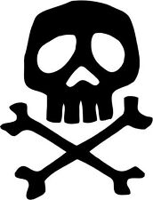 """Captain Harlock Space Pirate Skull Decal Sticker Car Window- 6"""" Tall White Color"""