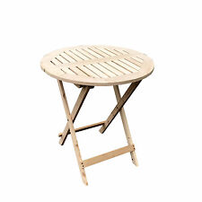 Round Folding Wood Table Portable Outdoor Patio Garden Yard Dining/Camping Desk