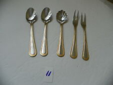5 PIECES WEXFORD 18/10 GOLD ACCENT PEARL PATTERN  2 HOR DOEUVE FORKS, 1 SUGAR SP