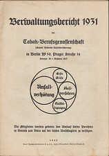 BERLIN Verwaltungs-Bericht 1931, Tabak-Berufs-Genossenschaft Unfall-Versicherung