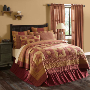 Ninepatch Star Queen Quilt Cotton Quilted Bedspread Red, Burgundy +Tan Patchwork